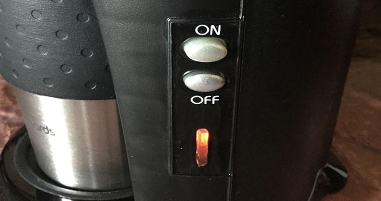 Image of Morphy Richards coffee machine on/off