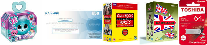 Image of prizes: Scruff-a-luv, Mainline voucher, Only Fools and Horses boxset, Dad's army box set and Toshiba