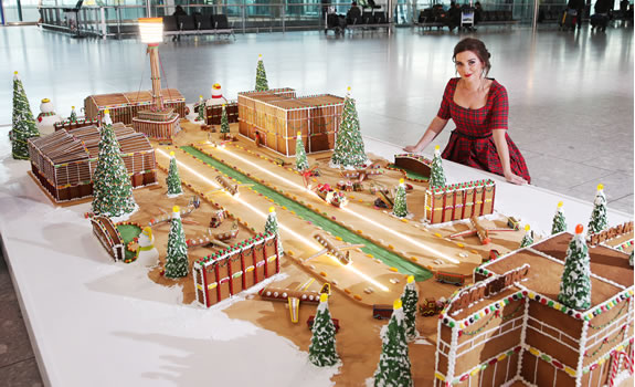 Full gingerbread creation of Heathrow Airport