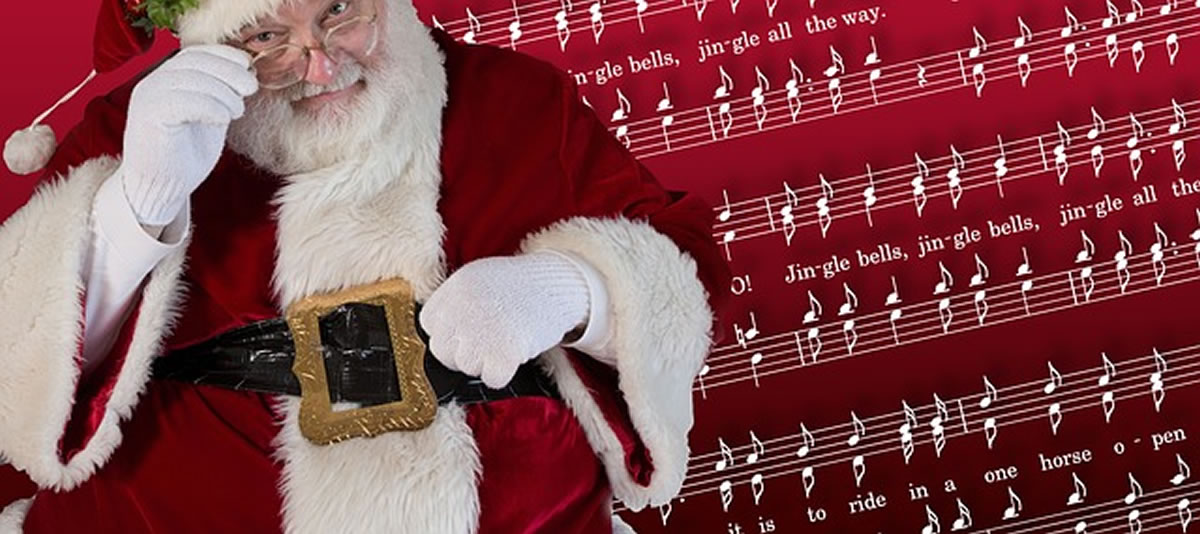 Image of Santa Claus with music notes
