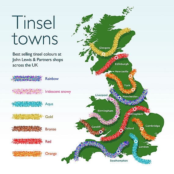 John Lewis & Partners Tinsel Mapo f the UK