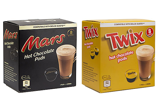 Aldi Mars and Twix Dolce Gusto compatible hot chocolate pods