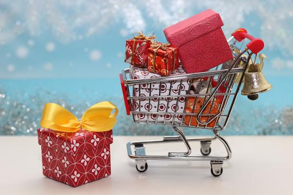 Christmas shopping trolley