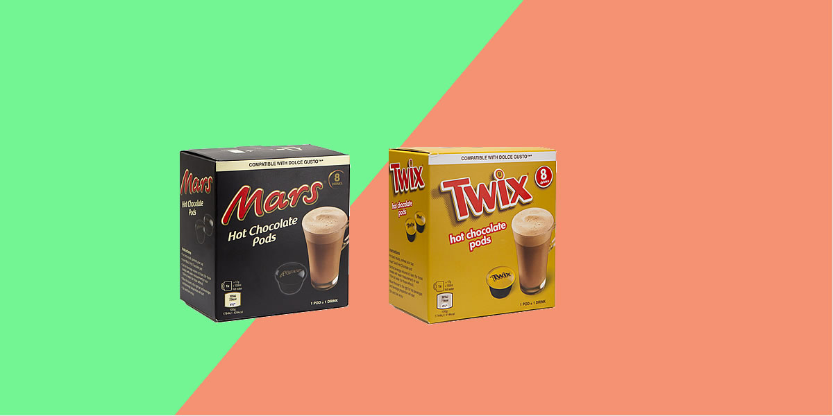 Aldi Hot Chocolate Pods - Mars & Twix