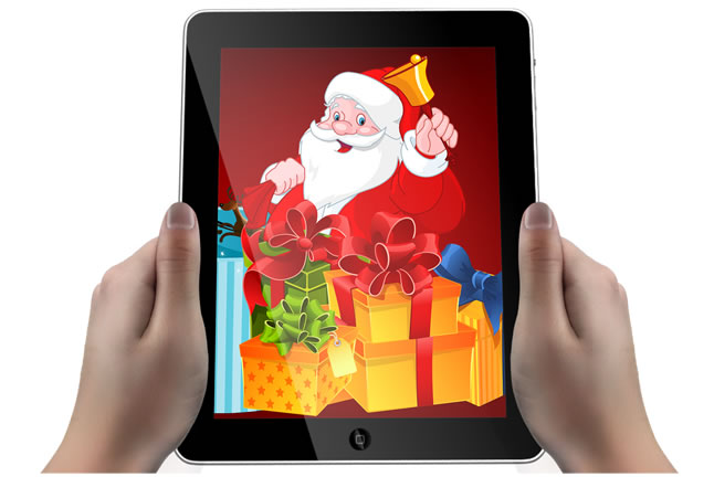Tablet gadget with Christmas scene