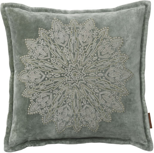 Cozy Living 45x45cm Velvet Cushion with Mandala Embroidery in Army Green £59.00