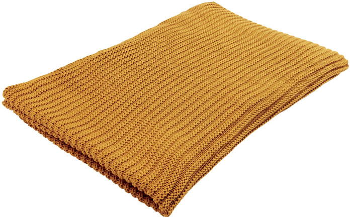 Gauge Knit Throw in Ochre GBP 49.50 M&S