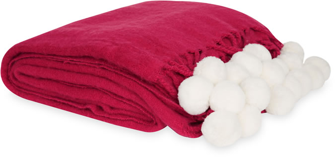Laura Ashley- Pompom Knitted Cranberry Large Blanket GBP 75.00