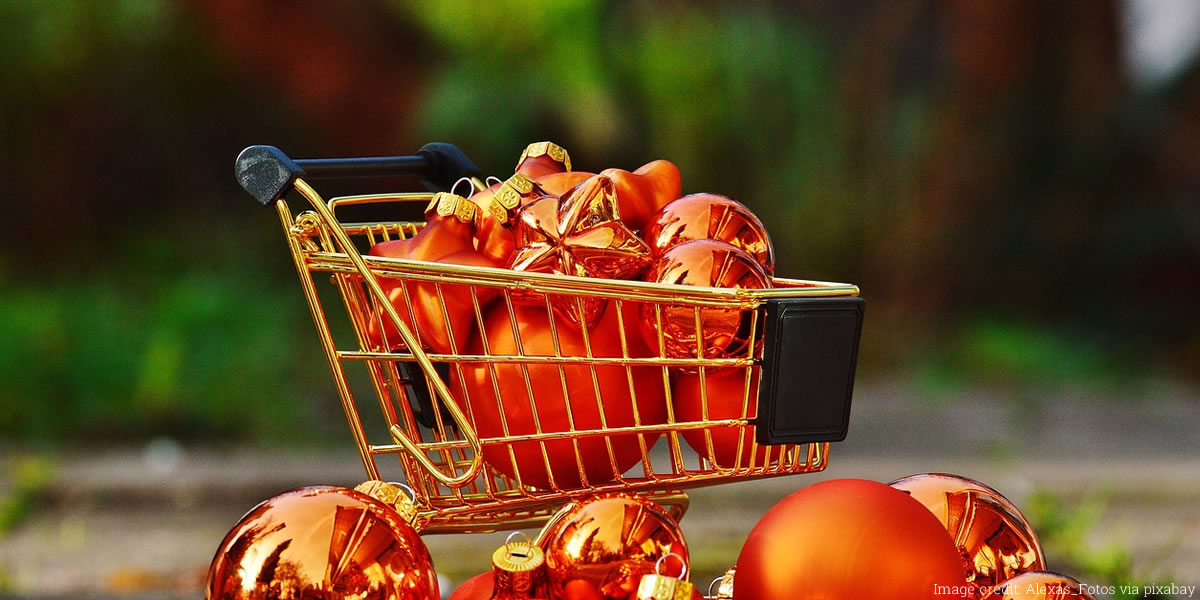 Image of a christmas shopping trolley