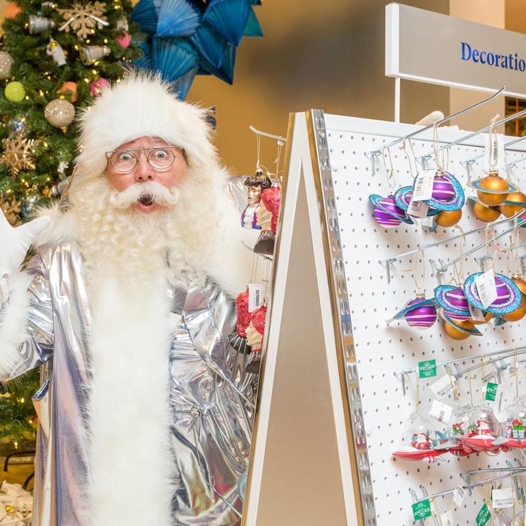 Selfridges Santa with decoratons