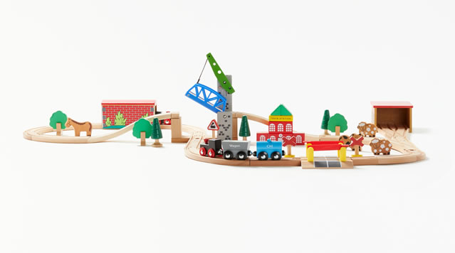 John Lewis & Partners 50-piece Wooden Train Set