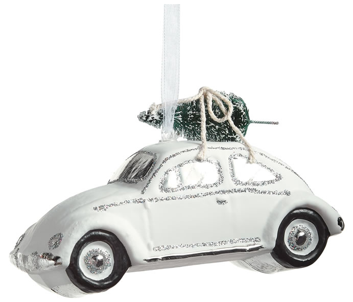 John Lewis & Partners Snowscape Glass Car with Tree