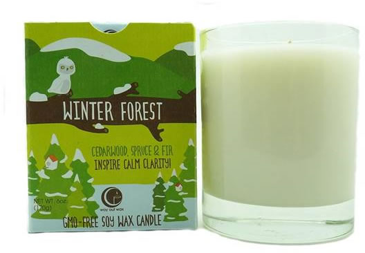 Live in the light winter forest candle