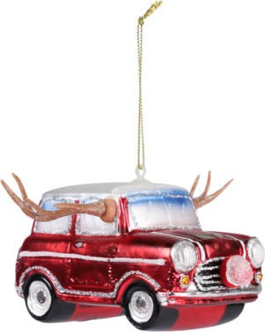 Glass car with antlers Christmas tree decoration