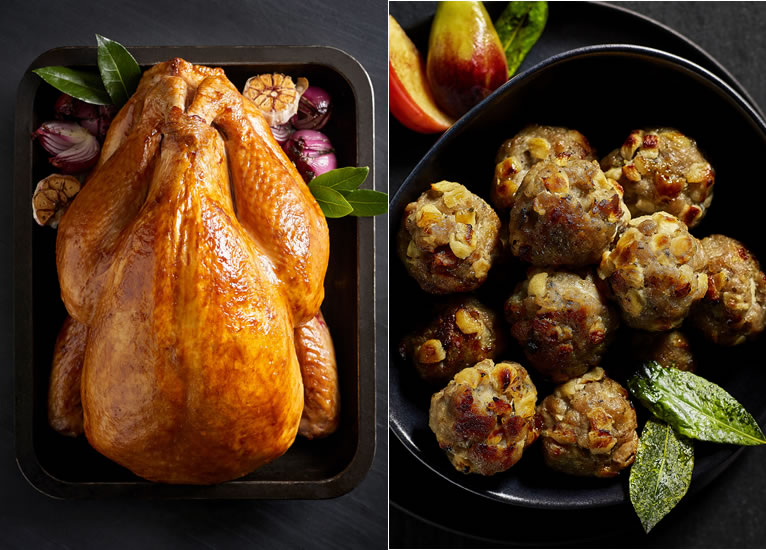 The Best British Free-Range Bronze Whole Turkey and The Best Fig, Apple & Pork Stuffing Balls