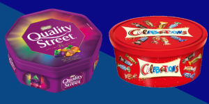 Quality Street and Celebrations Christmas Tubs