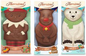 Thorntons cheeky elf, cheeky reindeer and snowy bear chocolate