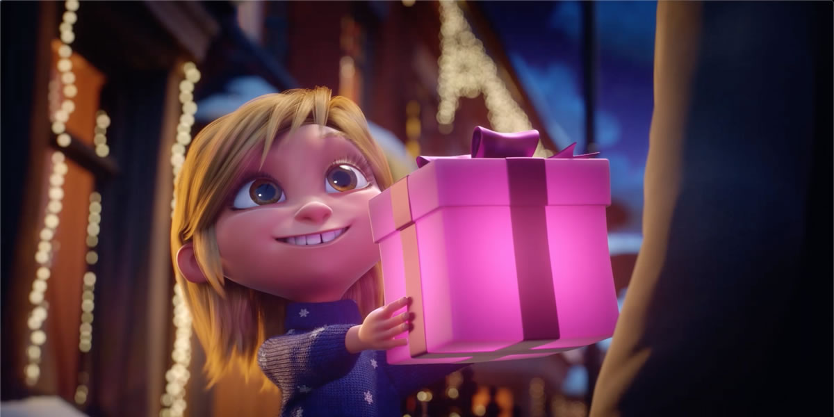 Very.co.uk Christmas advert 2019 -Martha handing present to Sidney