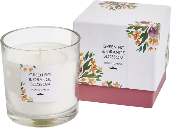 Wilko green fig and orange blossom candle
