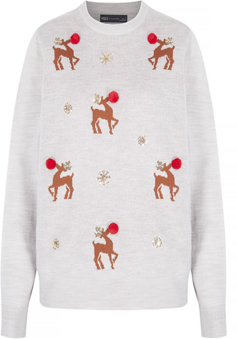 M&S Collection Reindeer Embellished Christmas Jumper: Was £25 - Now £15