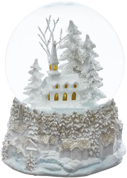 Laura Ashley White Christmas Decorative Snow Globe