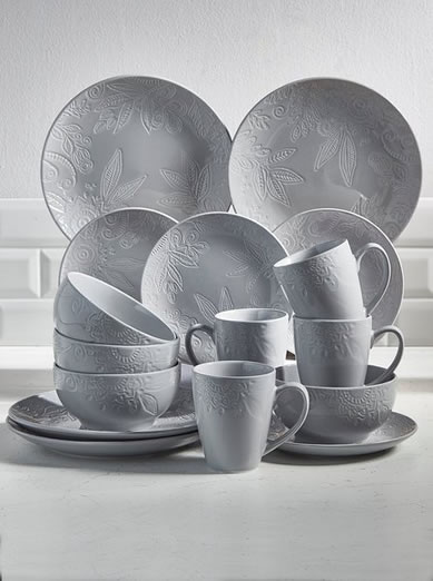 16-Piece Porcelain Embossed by studio