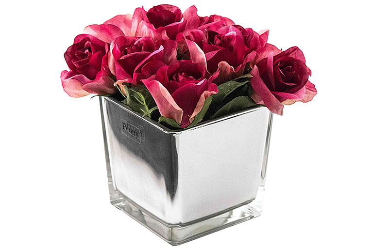 John Lewis Fuchsia Peony Artificial Roses in Black Cube