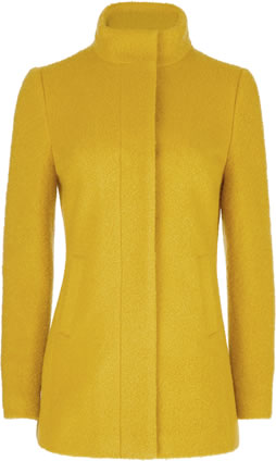 Laura Ashley Yellow Boucle Wool Funnel Car Coat