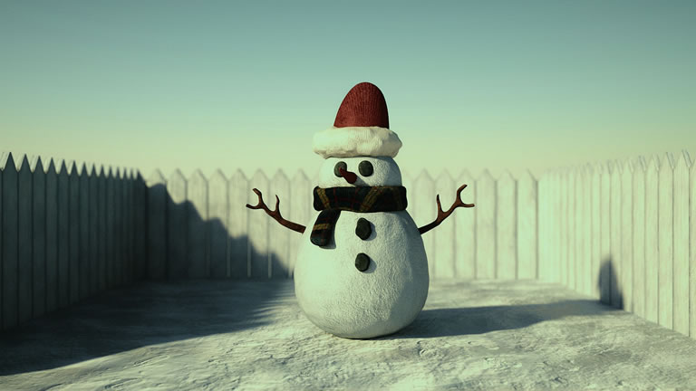 A dressed snowman