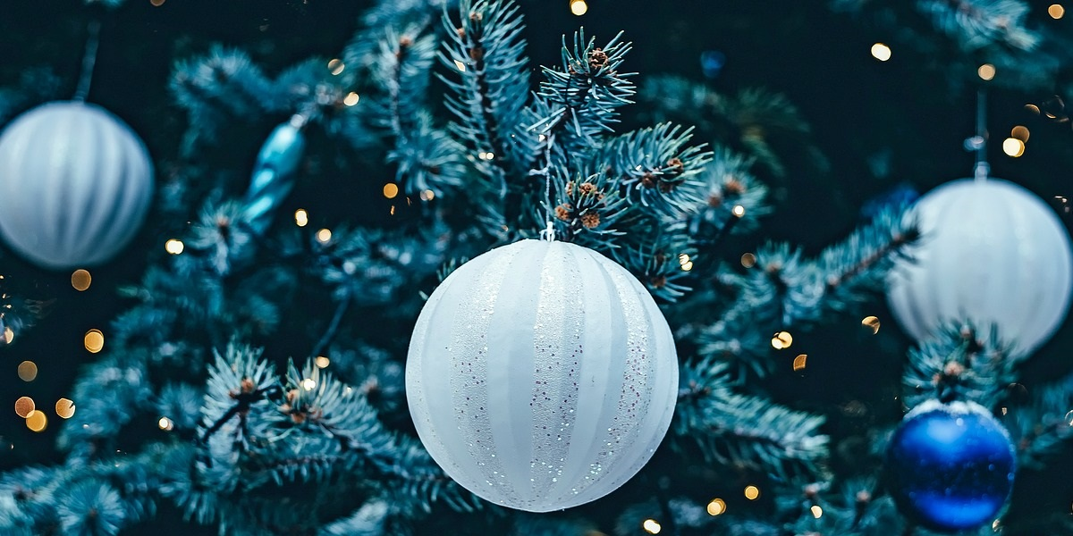 Image of Christmas blue decorations