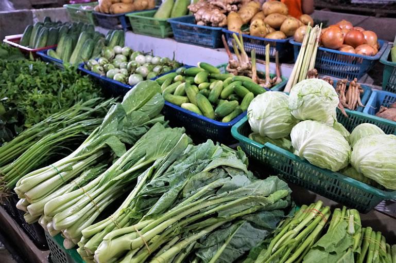Vegetables in Supermarket aisle