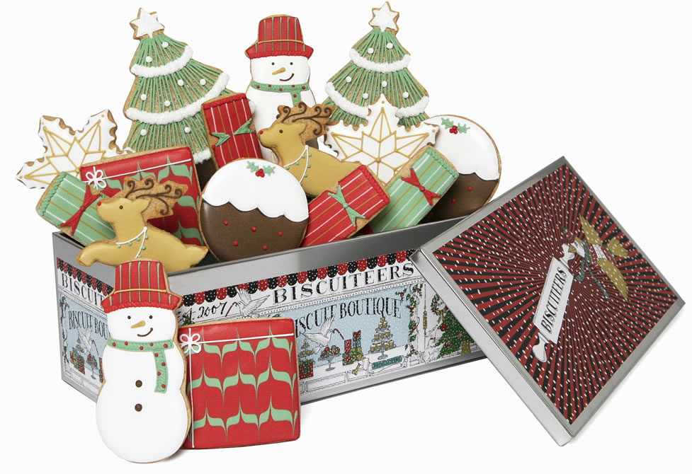 Image Of Biscuiteers Luxe Christmas Tin