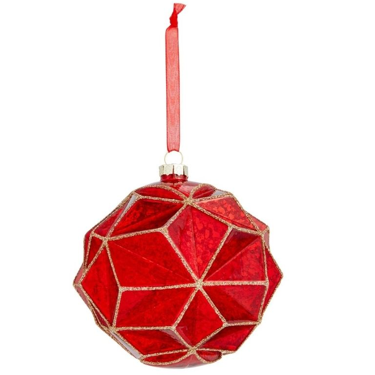 John Lewis & Partners Art of Japan Origami Mercurised Bauble, Red