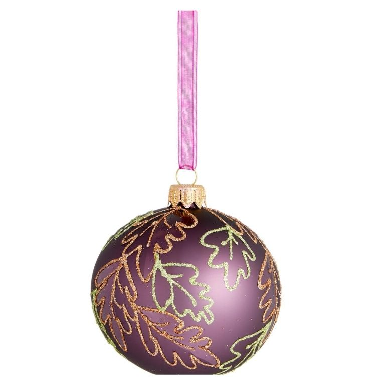 John Lewis & Partners Bloomsbury Purple Round Bauble with Glitter Leave