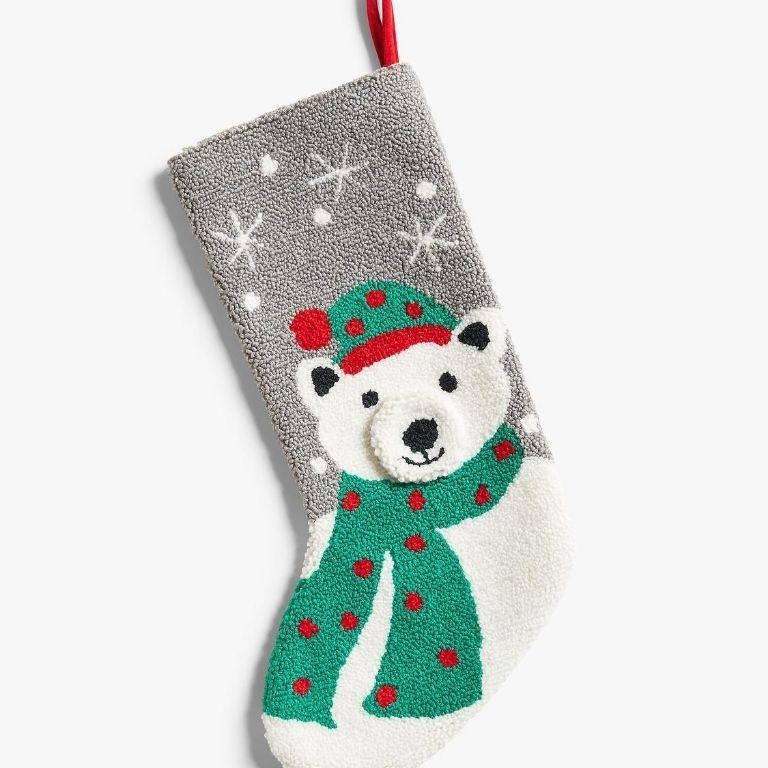 John Lewis & Partners Boucle Polar Bear Christmas Stocking