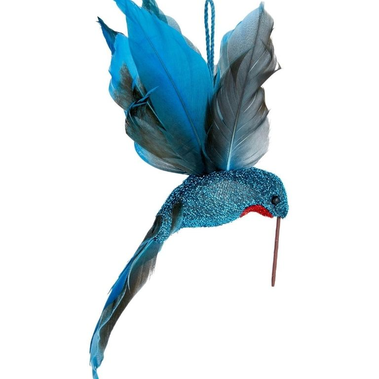 John Lewis & Partners Post Impressionism Blue Hummingbird with Feathers
