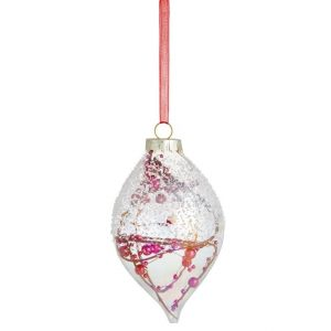 John Lewis & Partners Art of Japan Bloom Branches Finial Bauble, Red