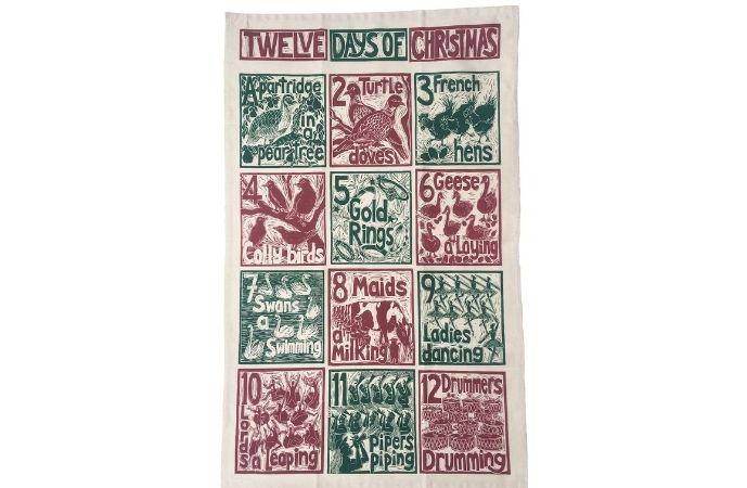 Kate Guy 'The 12 Days of Christmas' Tea Towel