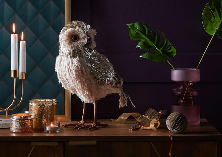 Homebase Gold Bristle Standing Owl