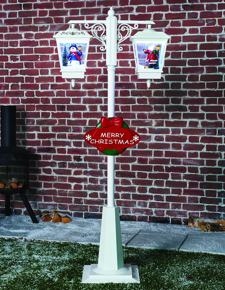 The Range Double Snowing Lamp Santa And Snowman