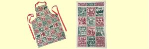 Twelve Days of Christmas tea towel and apron giveaway slider only