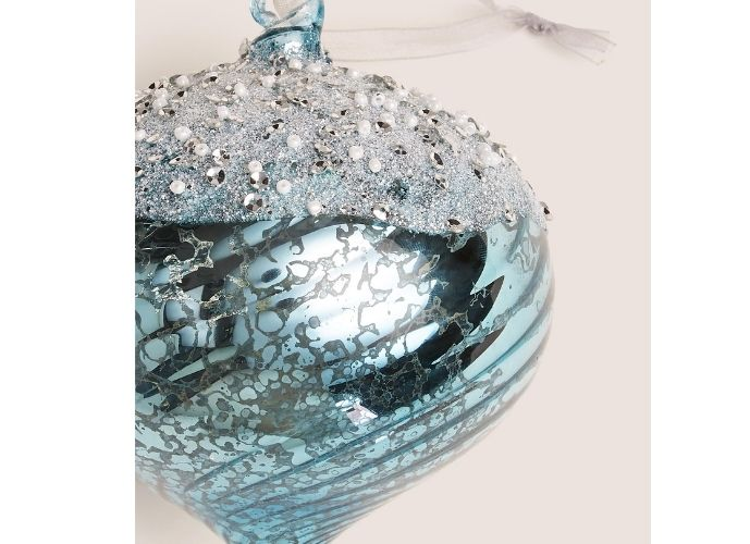 Marks and Spencer Blue Beaded Onion Bauble