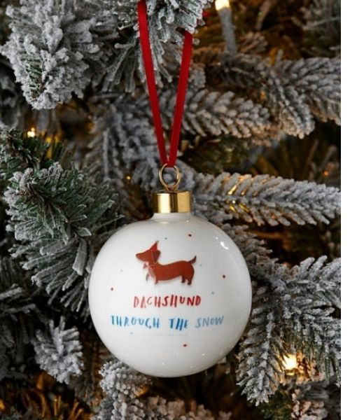 Studio Personalised Hotch Potch Dachshund Through The Snow Bauble