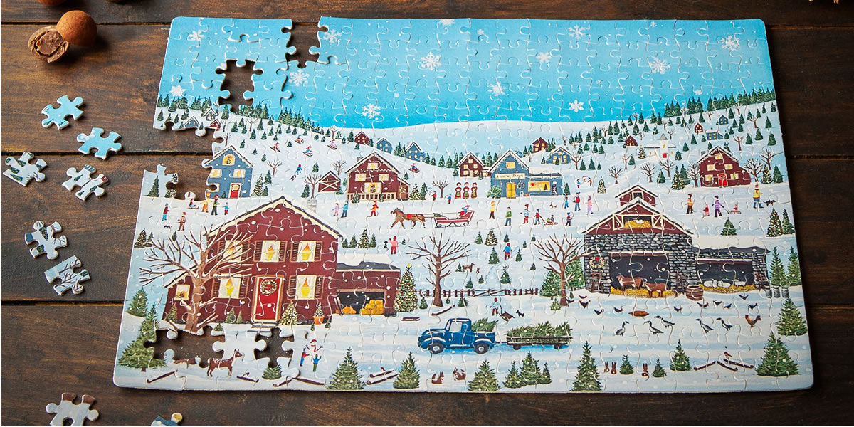 Image Of Snowy Village Scene By Puzzle Crazy