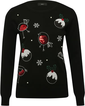 Image Of M&Co Robin Christmas Jumper