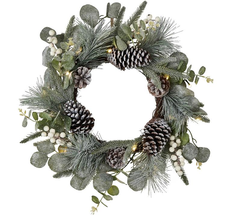 Image Of Matalan Pre Lit Glitter Wreath