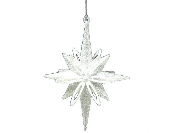 The Range Glittered Silver 3D Star