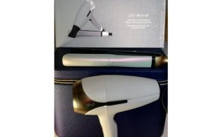 Iridescent White GHD Limited Edition Platinum+ Smart Styler and Helios Hair Dryer Deluxe set