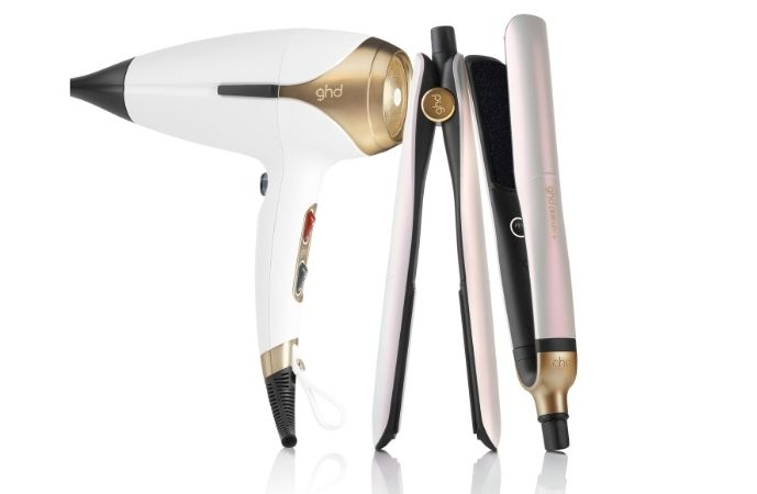Iridescent White GHD Limited Edition Platinum+ Smart Styler and Helios Hair Dryer Deluxe