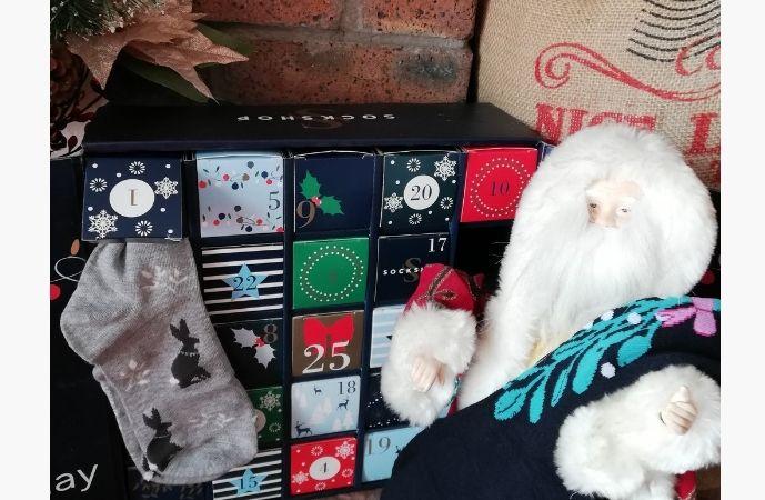 SOCKSHOP 25 Days of Socks Advent Calendar - opened box with socks